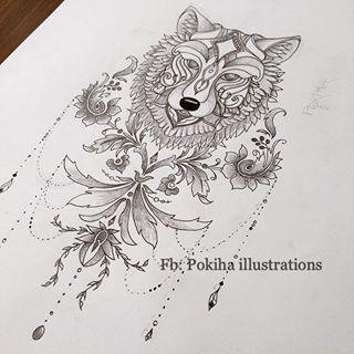 Blackandwhite wolf tattoo sexy wolftattoo feathers poetic dodieinspired tattoo ideas - Tatouage loup mandala ...