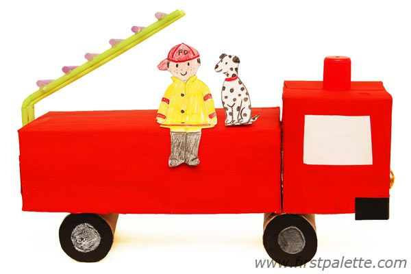 Make A Fire Truck From Recycled Boxes And Toilet Paper Tubes