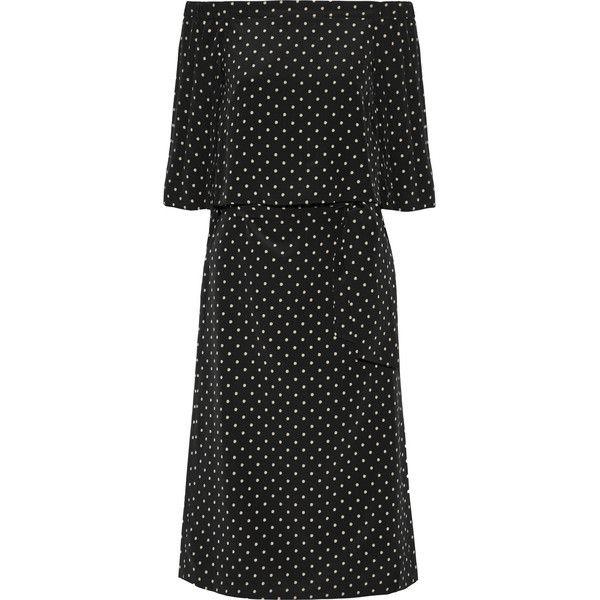 Tibi Off-the-shoulder polka-dot silk crepe de chine dress (€995) ❤ liked on Polyvore featuring dresses, black, mid calf dresses, overlay dress, silk dress, black two piece dress and polka dot dress