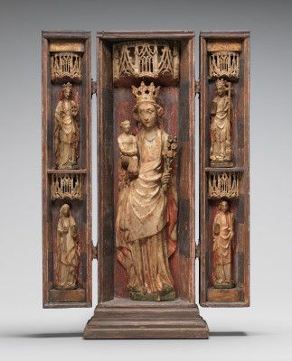 Figures from a Retable of the Virgin and Child, with Saint Catherine of Alexandria, Saint Apollonia, Saint Margaret of Antioch, and (possibly) Saint Mary Kleophas