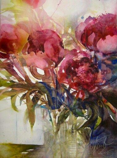 Elke Melmer Floral Watercolor Painting Colorful Art