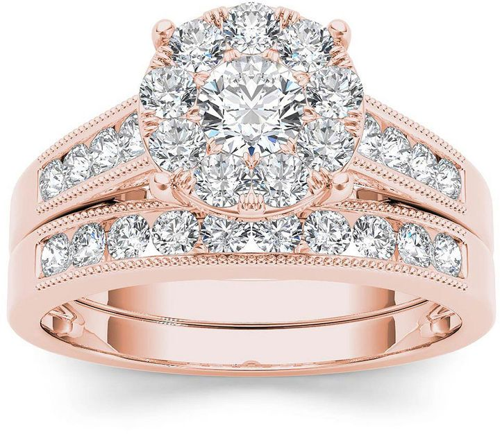 Modern Bride 1 Ct T W Diamond 10k Rose Gold Bridal Ring Set Bridal Ring Sets Yellow Gold Yellow Gold Engagement Ring Set Imperial Diamond