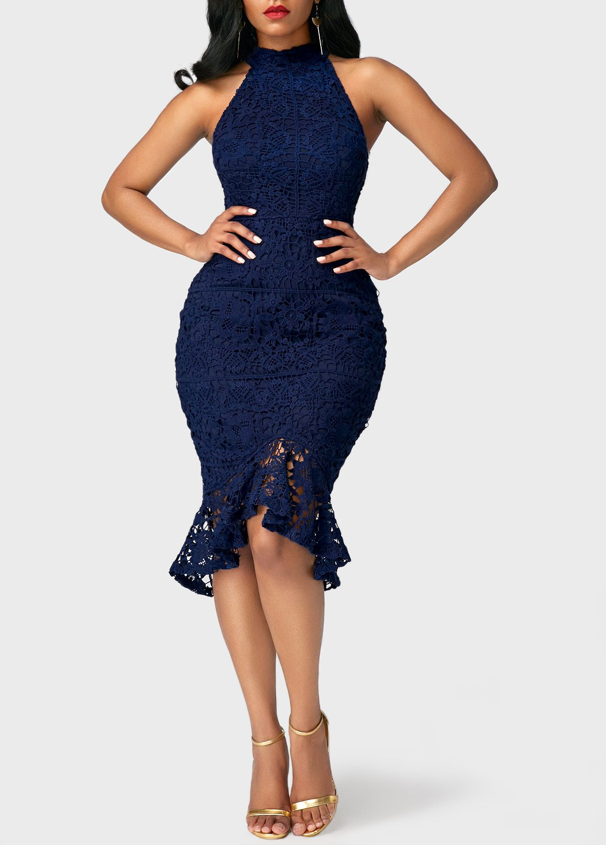 Sleeveless Navy Blue Asymmetric Hem Lace Dress On Sale Only