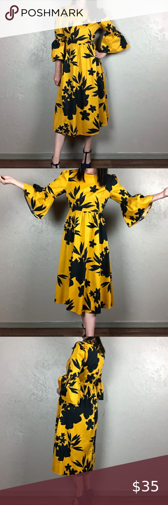 Vintage 1980s Yellow and Black Polka Dot Floral Patterned Floor Length Dress