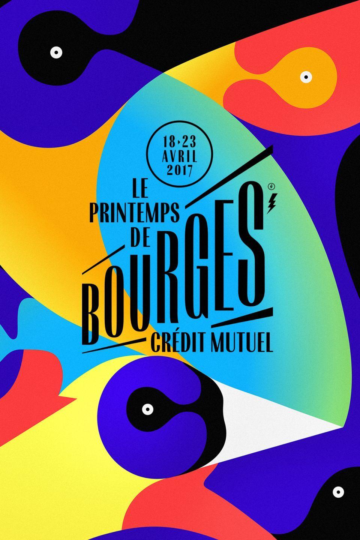 Affiche graphisme Printemps de Bourges oiseau graphisme colorful poster pierre jeanneau