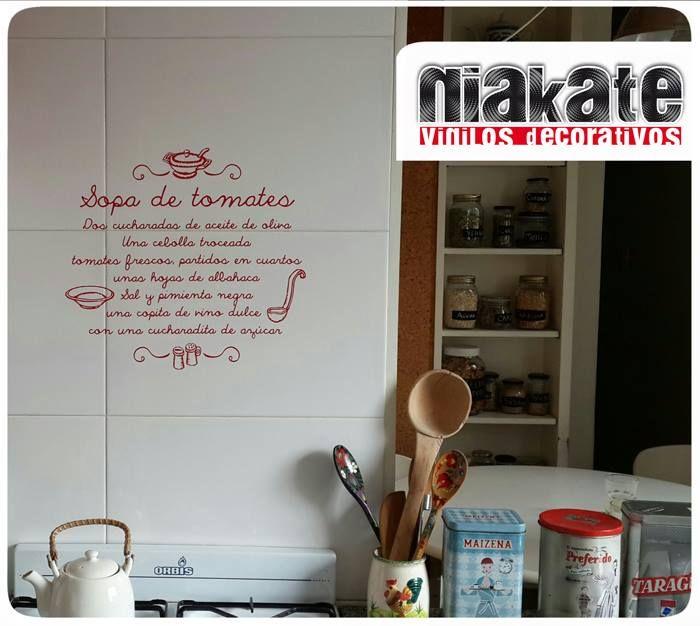 Receta de cocina en vinilo aplicada sobre azulejos de cocina. www ...