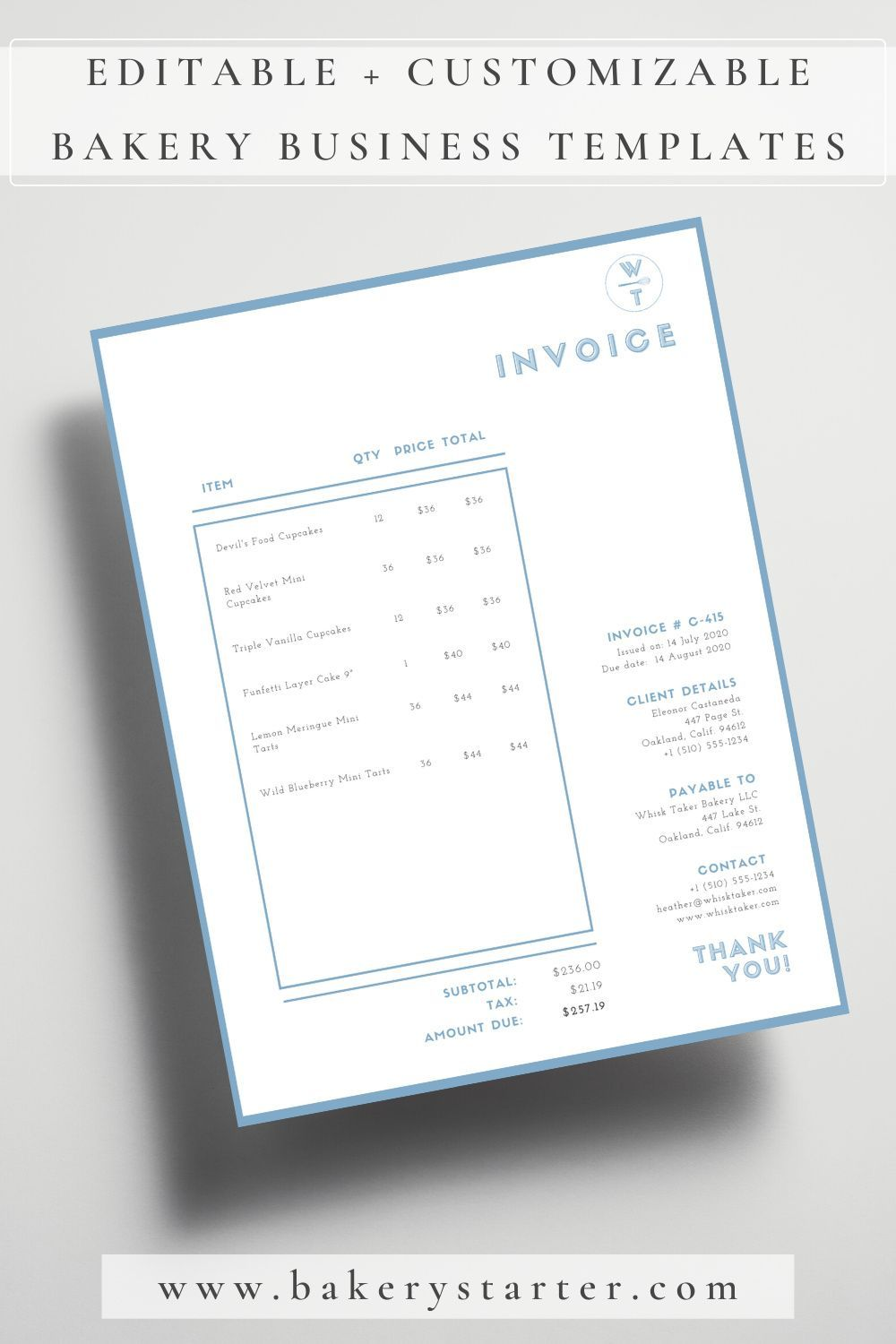 Editable Small Business Invoice Template Templates Cookie Business Home Bakery Business