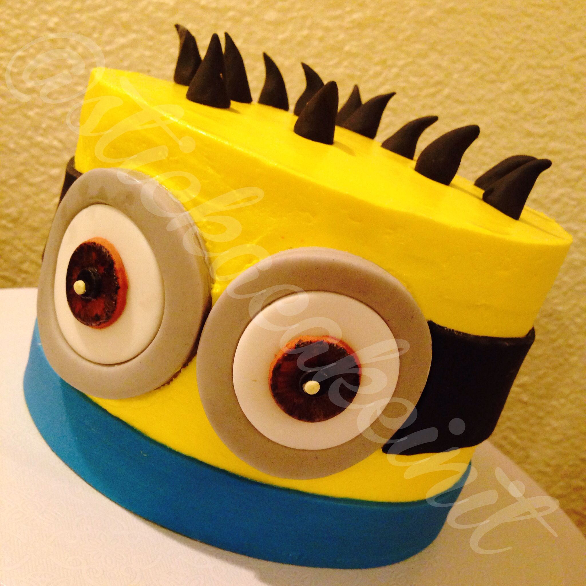 Minion Smash Cake by: Stick a Cake In It