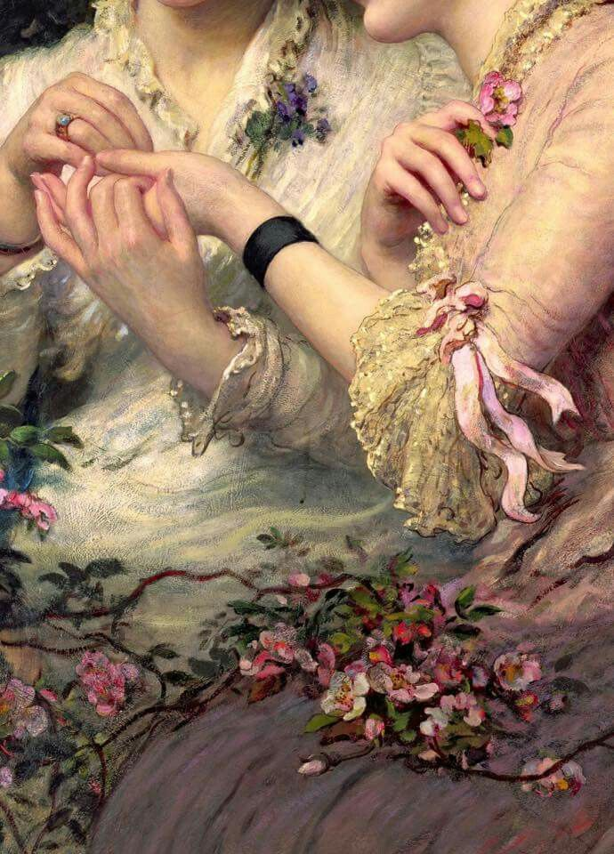 A Thorn Amidst the Roses (detail), oil on canvas, c. 1887, James Sant