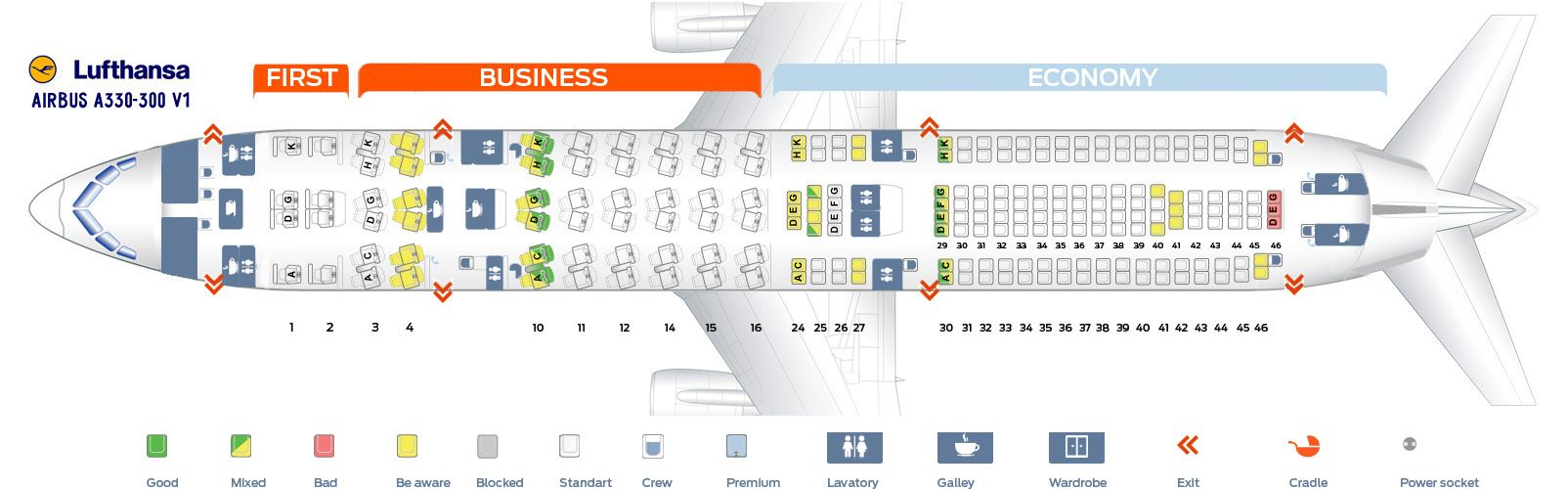 Seat Map And Seating Chart Lufthansa Airbus A330 300 Three Class Layout Seating Plan How To Plan Seating Charts