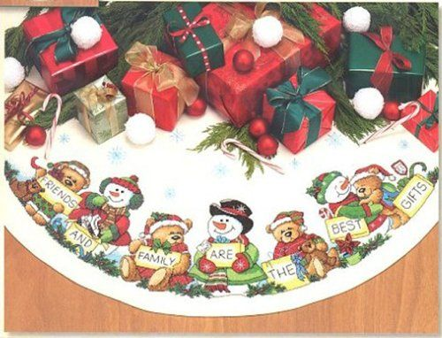 Counted Cross Stitch Patterns Chart Christmas Table Runner Tree Skirt Snow Man
