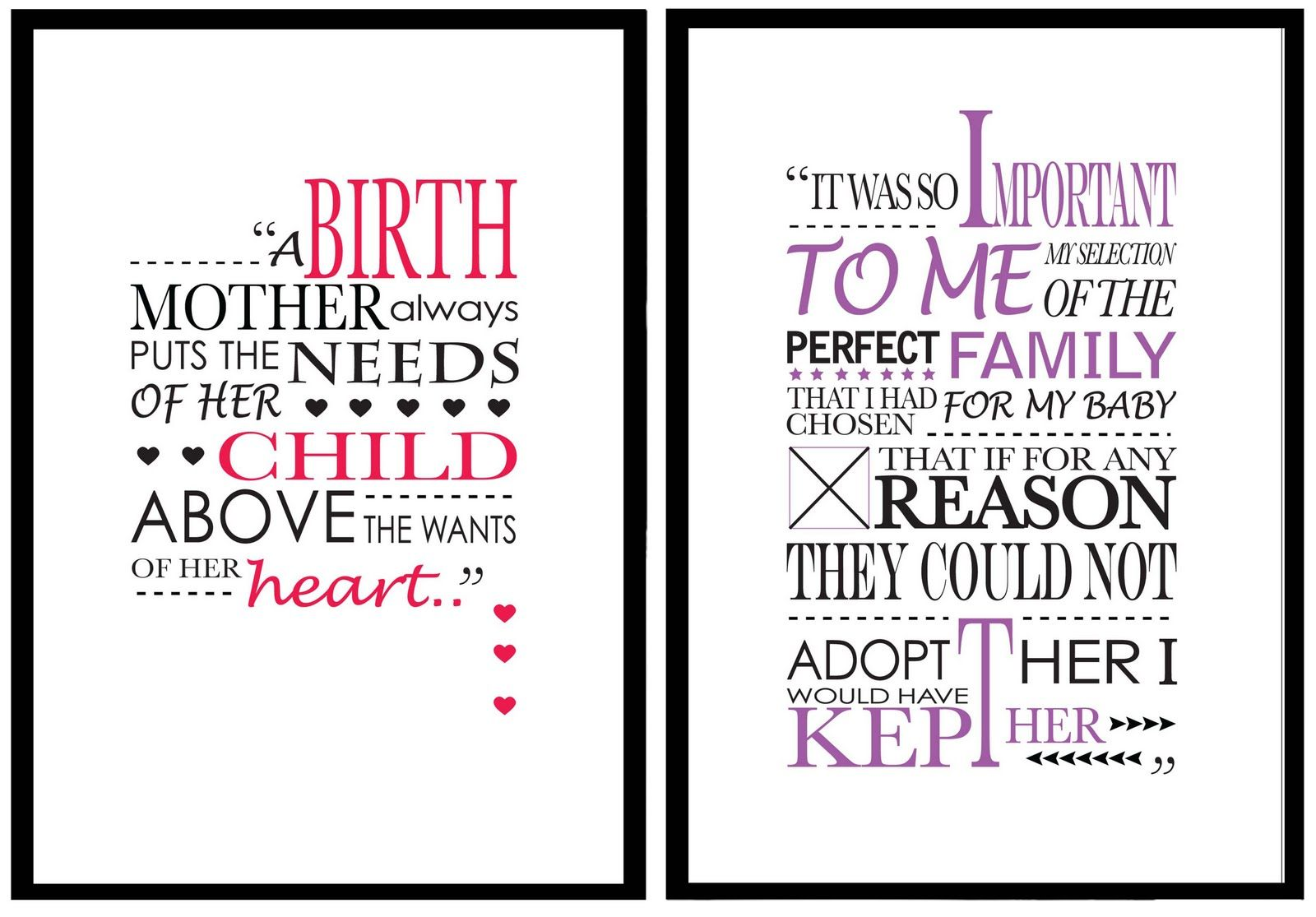 Typographical 'Adoption Quote' Posters Adoption quotes