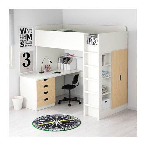 STUVA Comb cama alta c/4 gavetas/2 portas, branco, bétula