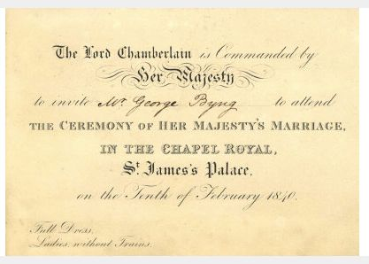 1840 Invitation From Lord Chamberlains Office To Attend Queen Victorias Wedding