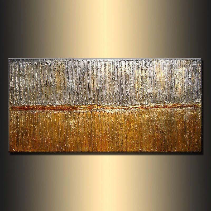 Texture Metallic Painting Original Modern Abstract Art Rich Gold Silver