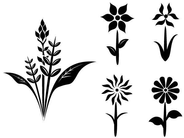 Free Flower Plant Vector Silhouettes Flower Silhouette Silhouette Clip Art Plant Vector