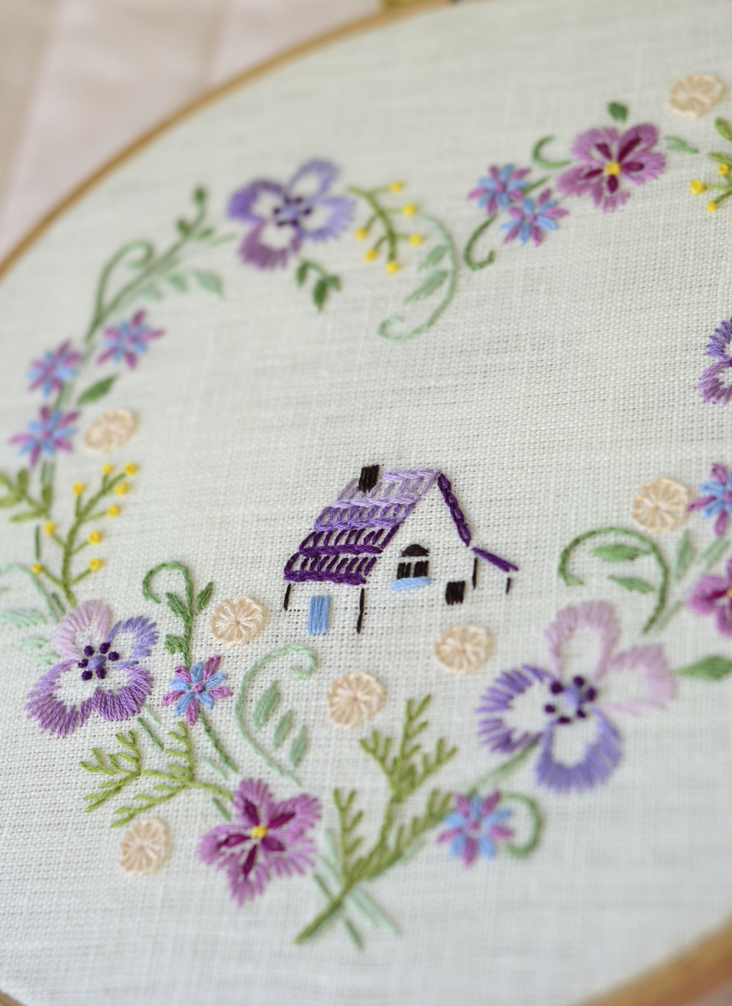 Floral hand embroidery pattern pdf digital download sweet home