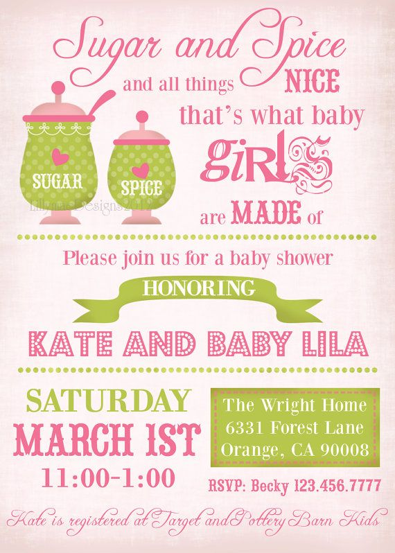 Great Sugar And Spice Baby Shower Invitation, Baby Girl Shower Invitation,  Typography Invitation  Digital File