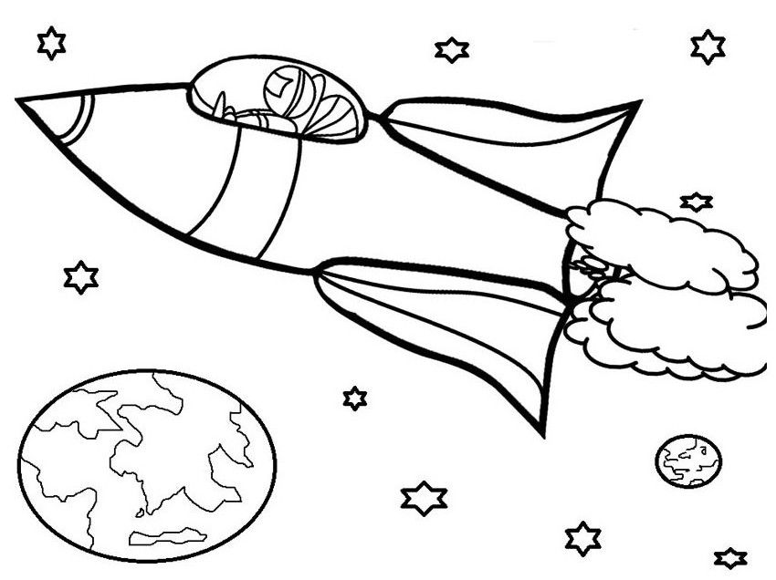 rocket ship coloring page simple | Coloring Board | Pinterest