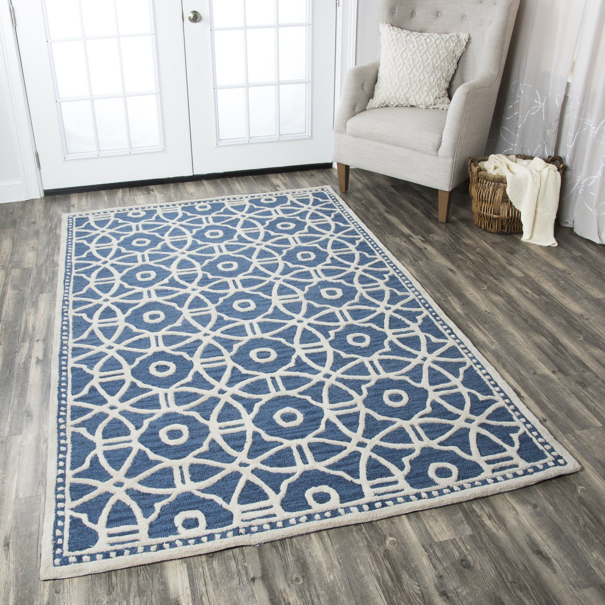 Wright Handmade Tufted Wool Blue Rug In 2020 Rizzy Home Area Rugs Rugs