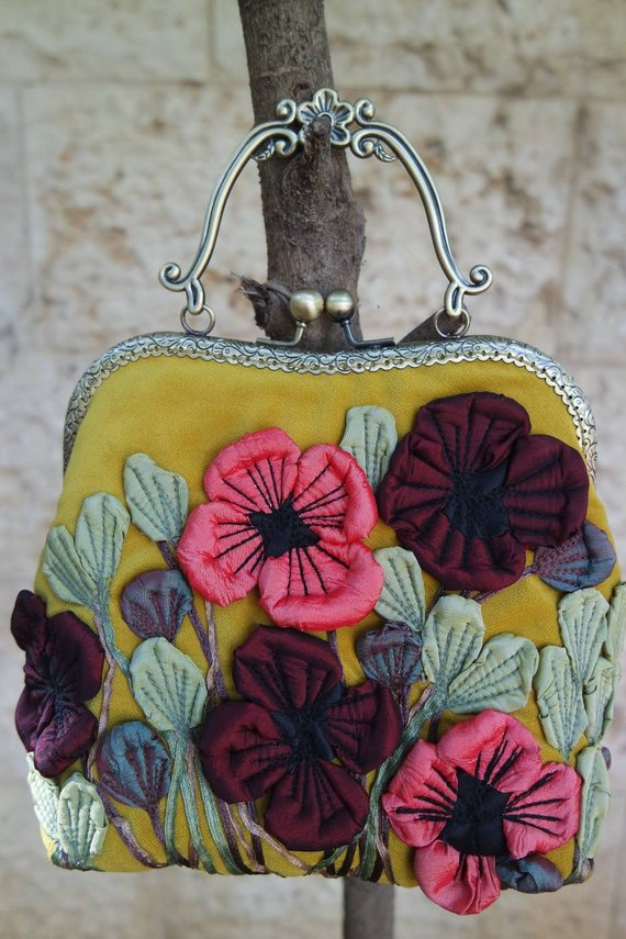 Coin Purse Embroidery Poppy Flowers Wallet Buckle Clutch Handbag For Women Gift