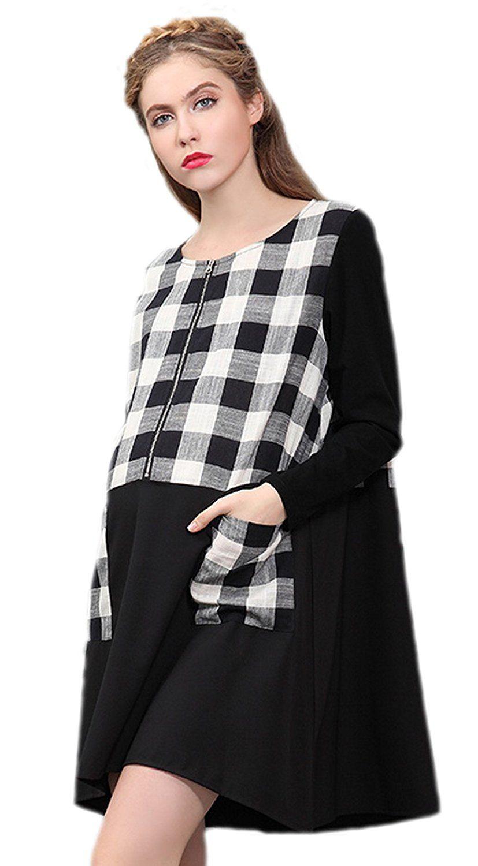 Joygown womenus maternity dress long sleeves stripe design black