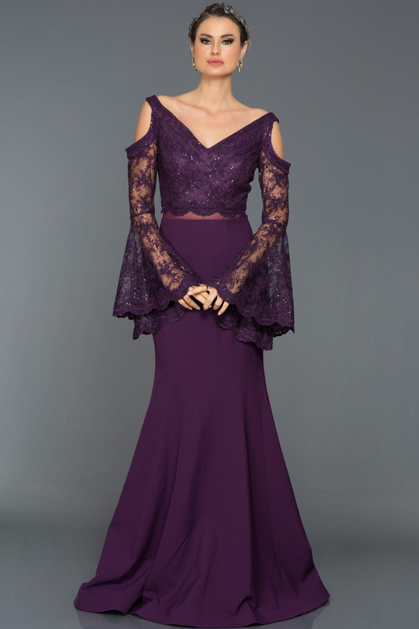 Mor Dantel Kollu Balik Abiye Gg7016 Kiyafet Elbise Modelleri Elbise