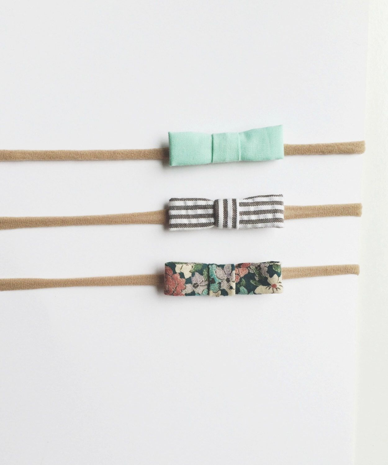 Headband Bow Set for Baby Mint Bow / Vintage Flower Bow / Striped Bow made with nylon elastic to grow with baby by SimpleJuneByKate on Etsy https://www.etsy.com/listing/188895324/headband-bow-set-for-baby-mint-bow