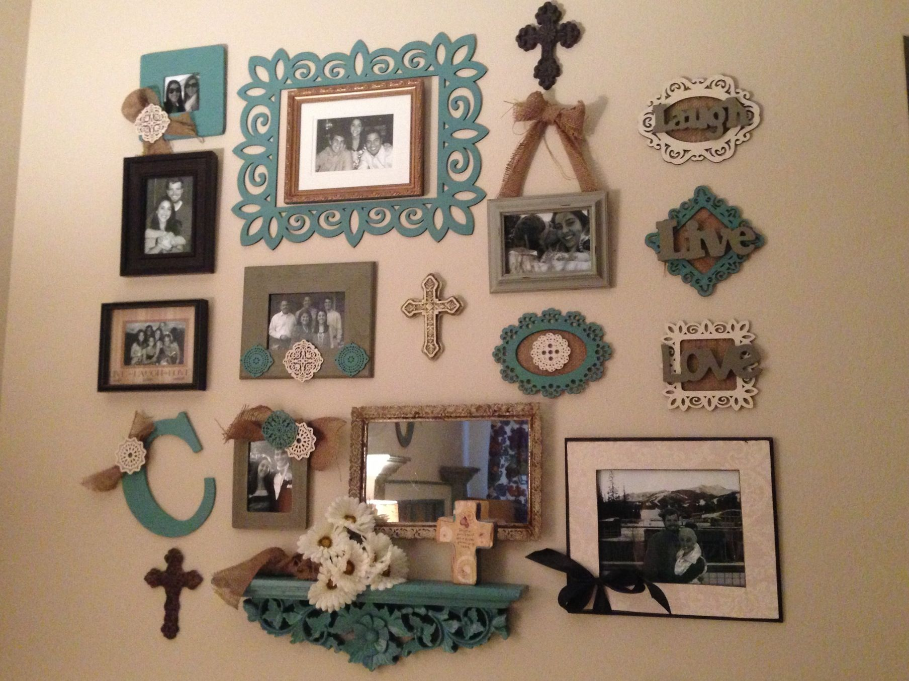 Wall collage made from different frames and other wall decorations ...