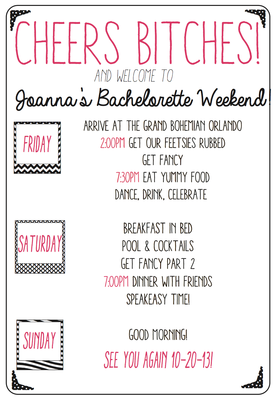 custom bachelorette weekend agenda keep your girls in line and on time with this fun party agenda all colors and details are customizable