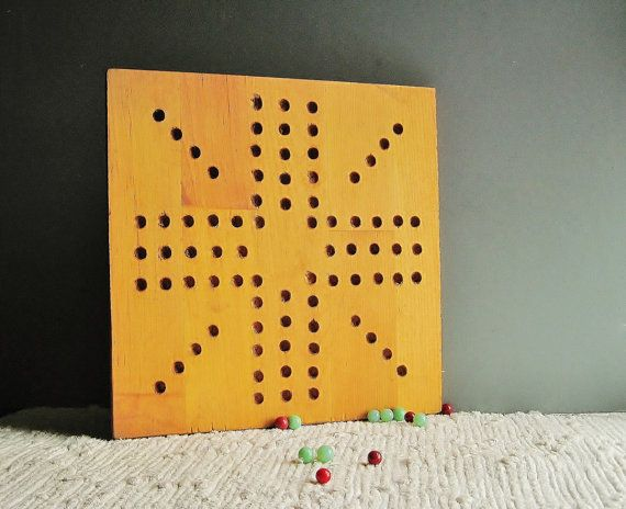Wooden Game Board ~ Vintage Hand Made Wooden Aggravation~ Game Room ...