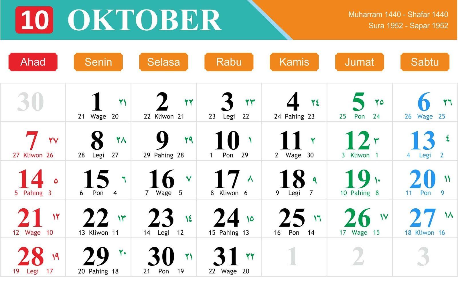 Kalender Jawa Oktober 2018 Kalender Desain Kalender Membaca