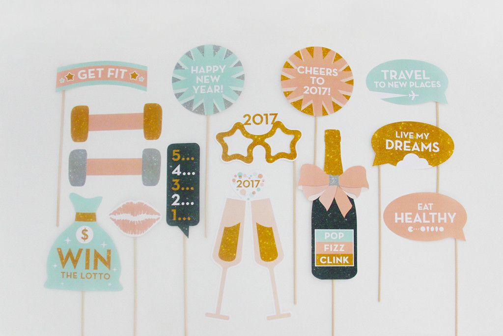new years eve 2017 photo booth props printable instant download