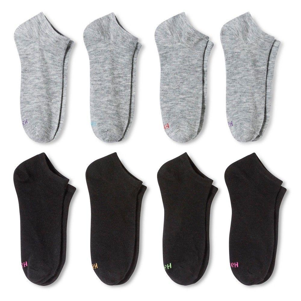 Women's Low Cut Casual Socks Hanes Premium 8 Pk Black/Grey 5-9