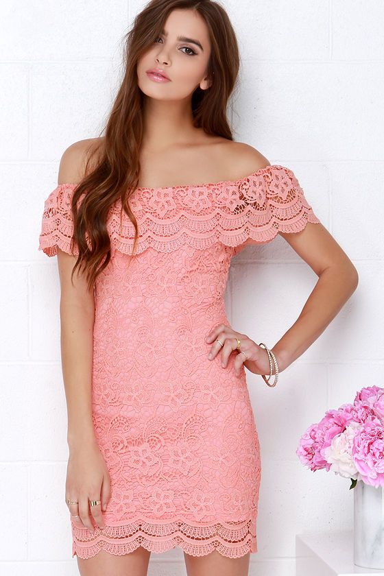 9e5743bec97a Islands in the Stream Coral Lace Off-the-Shoulder Dress at Lulus.com ...