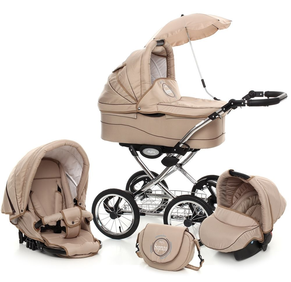 Classic Pram Retro Pushchair Stroller 3in1 Travel System