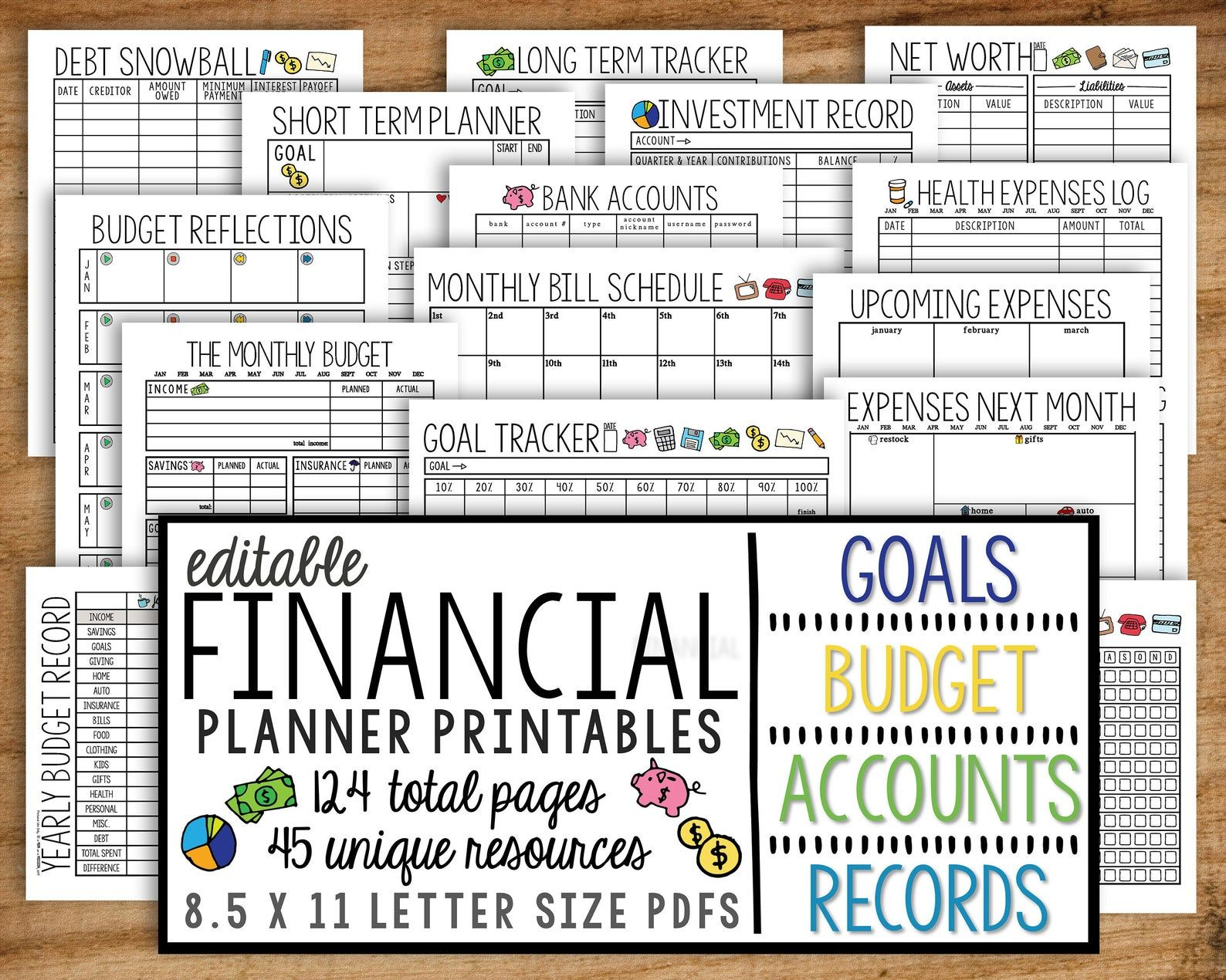 Financial Planner Printable Monthly Budget Finances