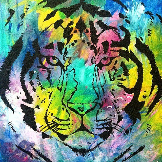 """""""Jungle fever"""" by Kirsten Gjermo 2' x 3' canvas acrylic paints"""