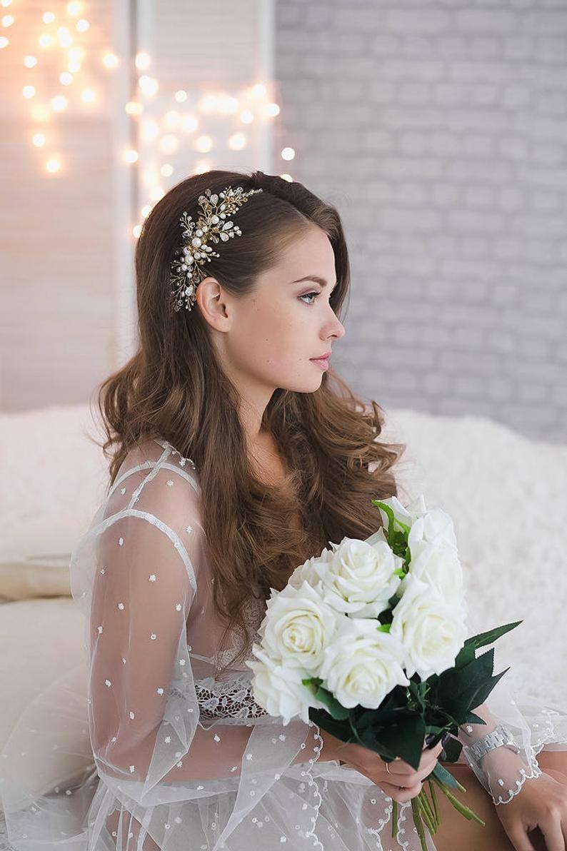 Bridal Hairpiece Green White Pearl Rhinestone Wedding Comb Floral Comb Garden Wedding Vintage Wedding Hair Accessory Gold Wedding Comb