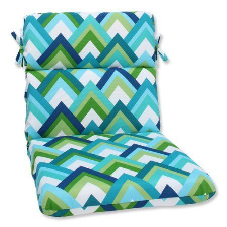 Pillow Perfect Outdoor/ Indoor Resort Peacock Rounded Corners Chair Cushion, Blue