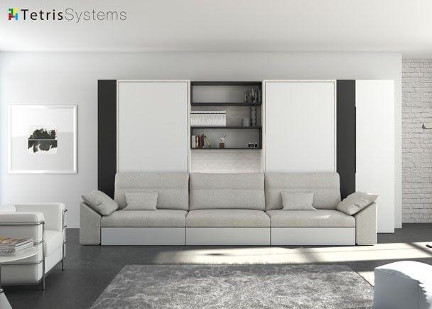 Sal n con doble cama abatible vertical y sof novedades - Mueble salon con cama abatible ...