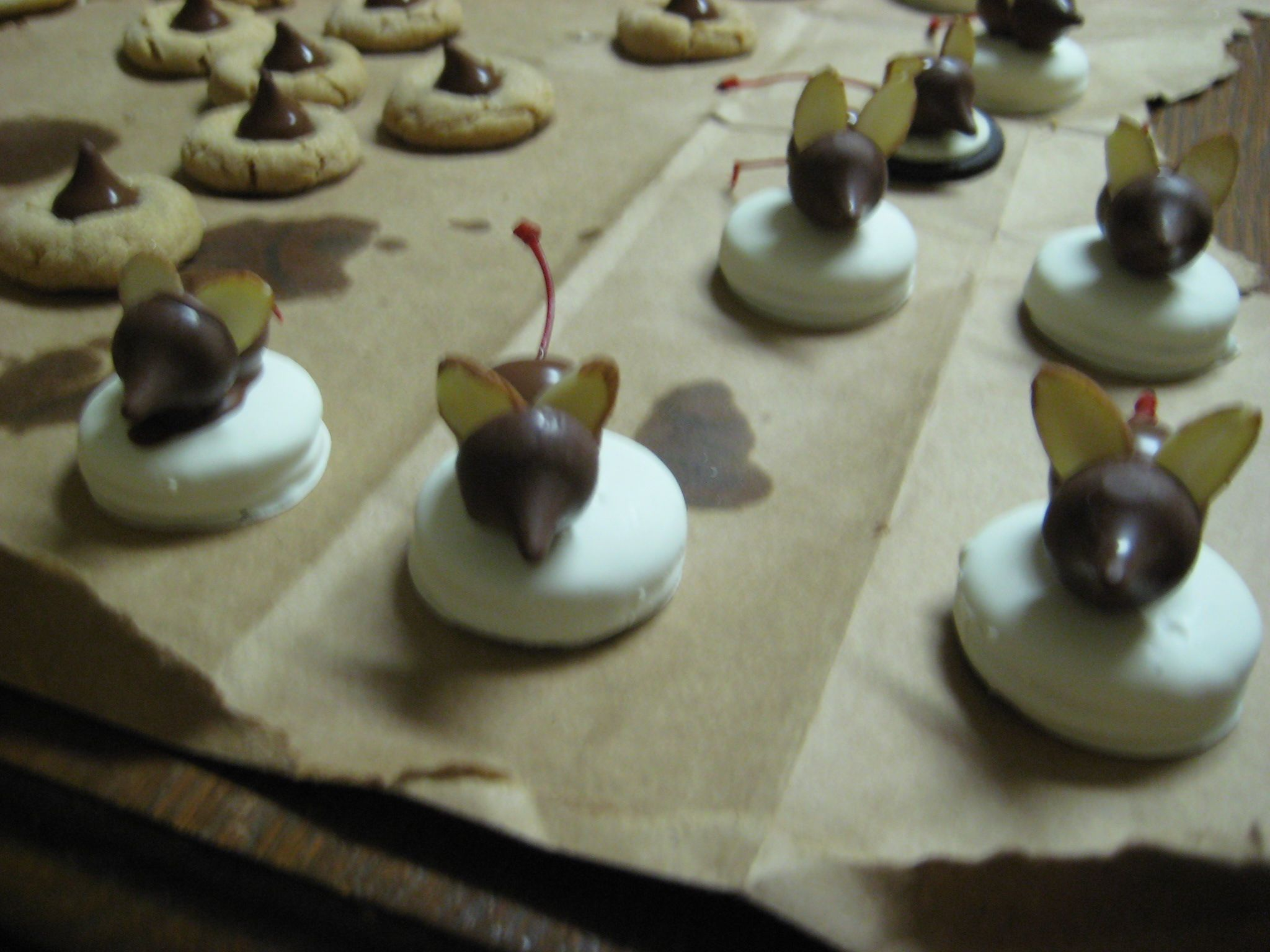 Mice Cookies Sit On White Chocolate Dipped Oreos Mouse Made Of