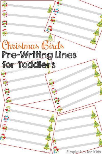 Day 18 Christmas Birds Pre-Writing Lines for Toddlers - printable writing lines