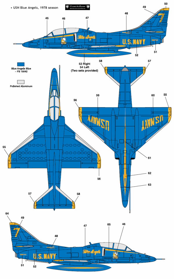 TA-4J Skyhawk Blue Angel Color Profile and Paint Guide | Aircraft ...