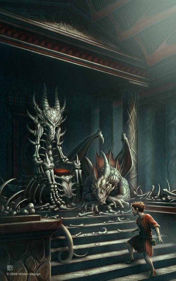 Dragon Bone Throne Fantasy Illustration Fantasy Artwork