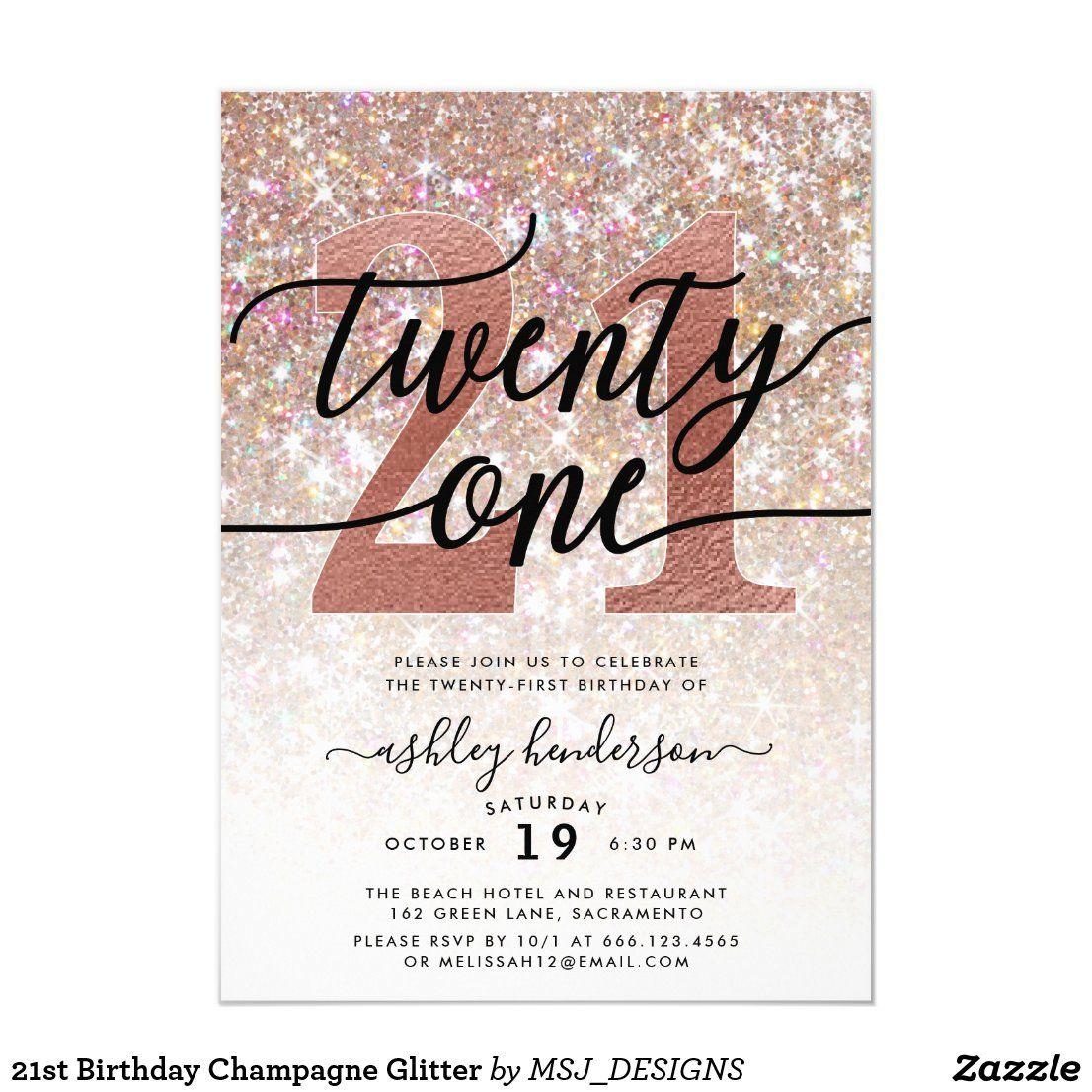 21st Birthday Champagne Glitter Invitation in
