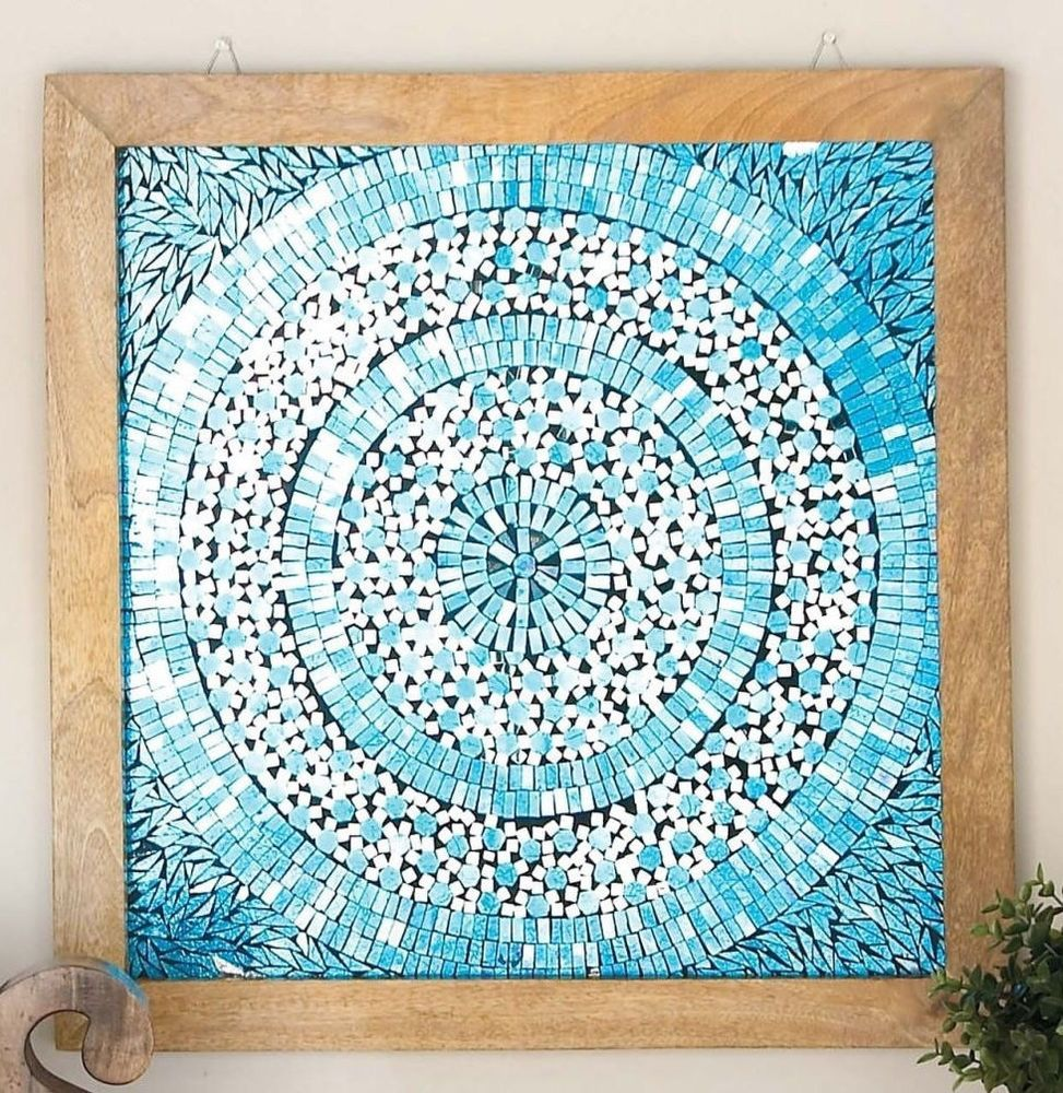 Turquoise modern wall sculpture art rustic wood farmhouse french