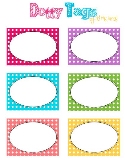 Dotty Tags ~ Free Printable as seen on High School Herd www ...