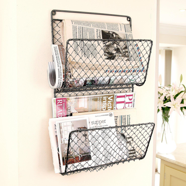 Wire Mesh Wall Mount Magazine Rack | Wall Mounted Magazine Rack ...
