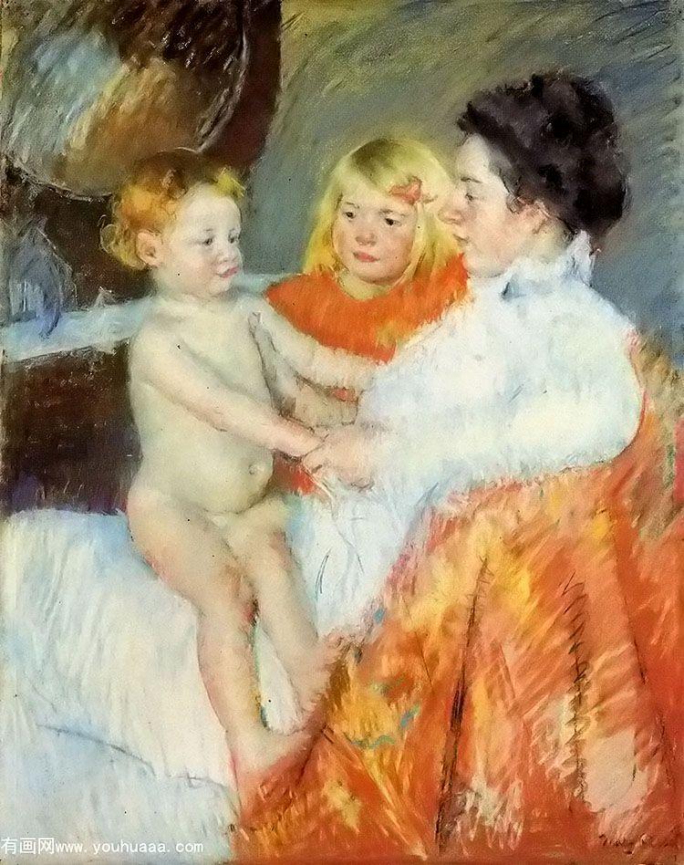 母亲、小女与幼子_玛丽·史帝文森·卡萨特_有画网